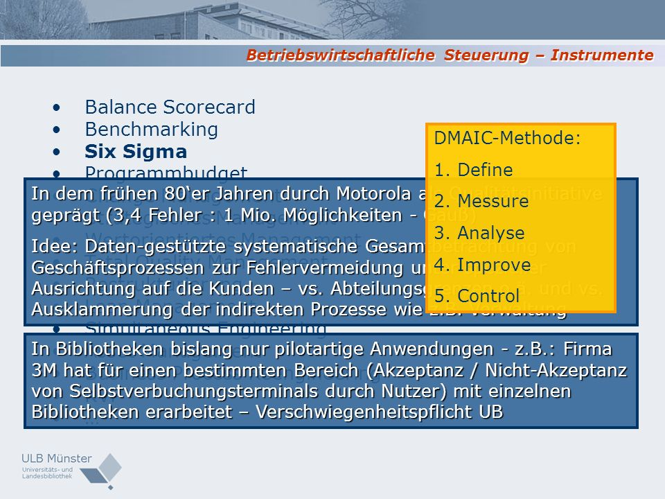 Balance Scorecard Benchmarking Six Sigma Programmbudget Change Management Strategisches Management Wertorientiertes Management Total Quality Managemen