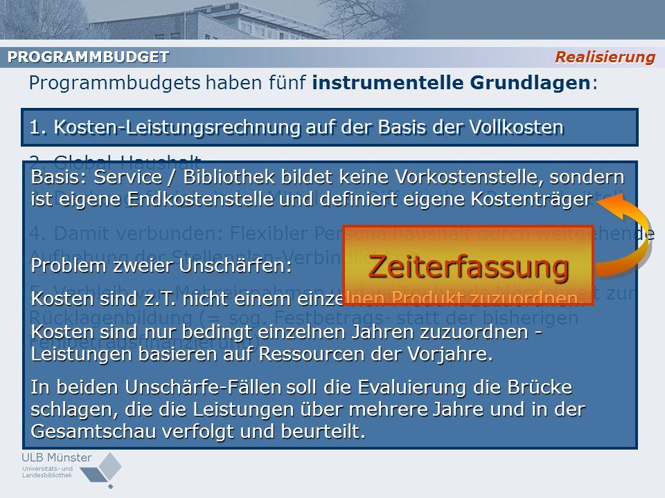 Programmbudgets haben fünf instrumentelle Grundlagen: 1. Kosten-Leistungsrechnung auf der Basis der Vollkosten 2. Global-Haushalt 3. Deckungsfähigkeit