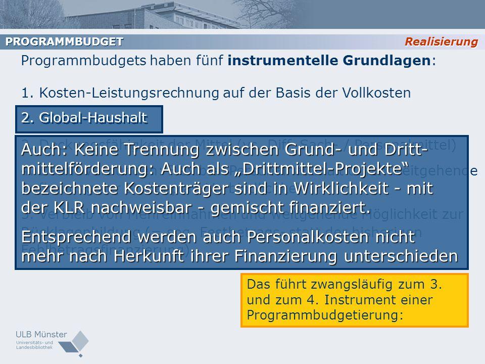 Realisierung PROGRAMMBUDGET Programmbudgets haben fünf instrumentelle Grundlagen: 1. Kosten-Leistungsrechnung auf der Basis der Vollkosten 2. Global-H