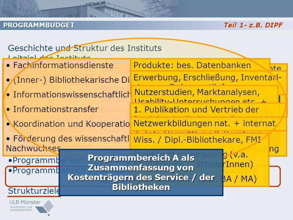 Teil 1- z.B. DIPF PROGRAMMBUDGET Geschichte und Struktur des Instituts Leitziel des Instituts Programmbereich A:Bildungsinformation und Bildungsgeschi