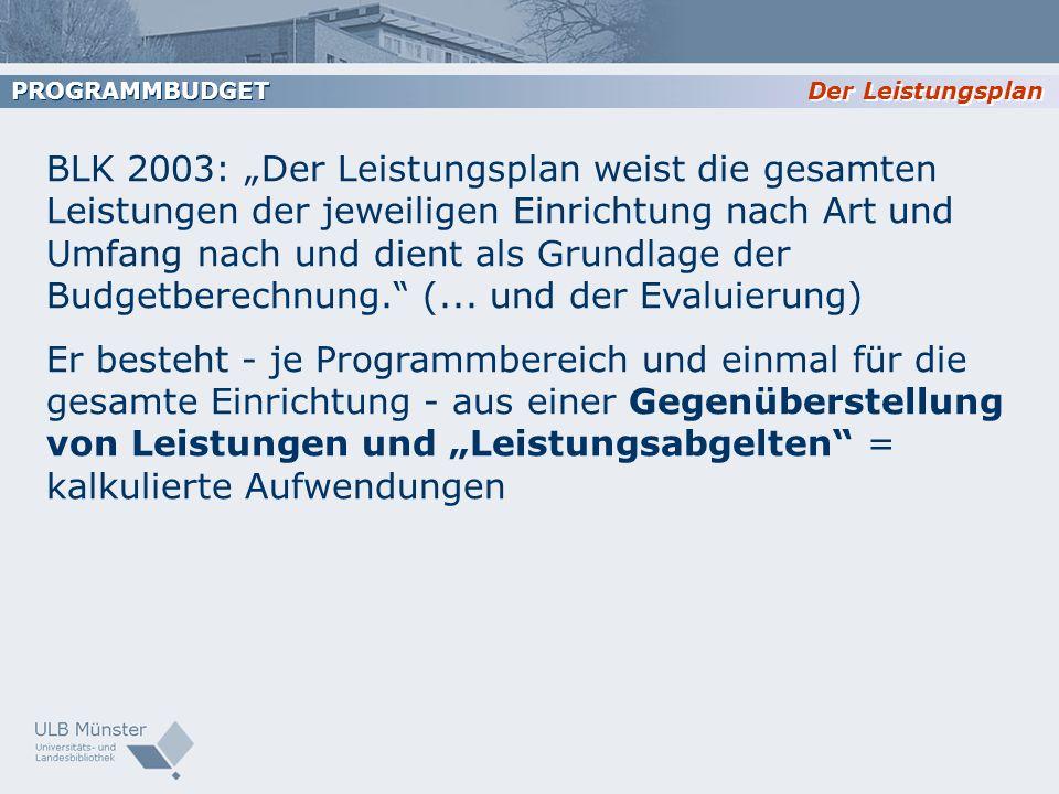 Der Leistungsplan PROGRAMMBUDGET BLK 2003: Der Leistungsplan weist die gesamten Leistungen der jeweiligen Einrichtung nach Art und Umfang nach und die