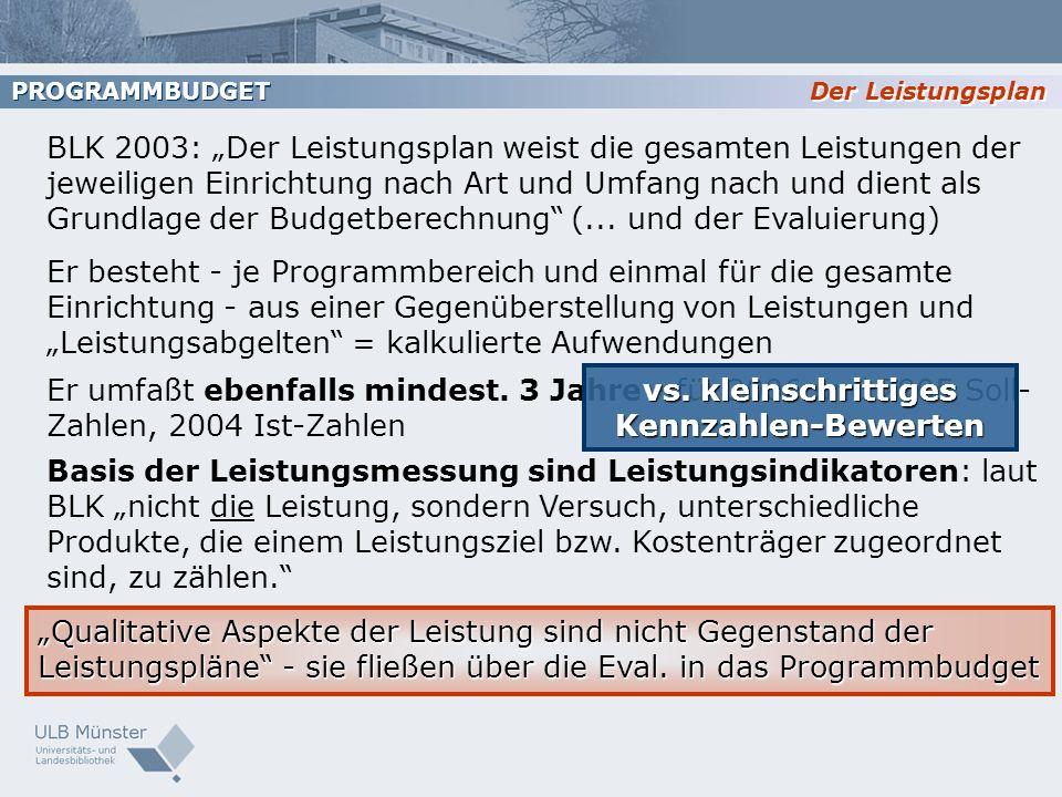BLK 2003: Der Leistungsplan weist die gesamten Leistungen der jeweiligen Einrichtung nach Art und Umfang nach und dient als Grundlage der Budgetberech