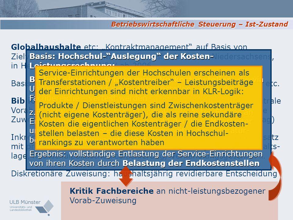 Globalhaushalte etc: Kontraktmanagement auf Basis von Zielvereinbarungen - etwa in Stiftungshochschulen Niedersachsens, in Hessen ab 2005, in NRW ab 2