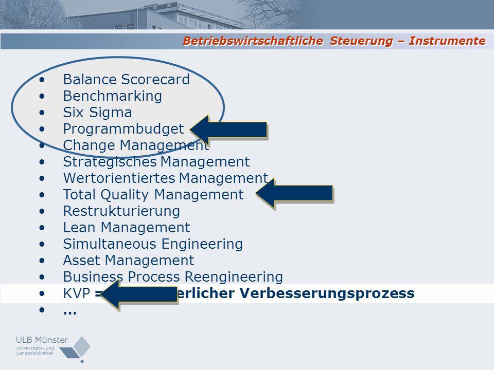 Betriebswirtschaftliche Steuerung – Instrumente = Kontinuierlicher Verbesserungsprozess Balance Scorecard Benchmarking Six Sigma Programmbudget Change