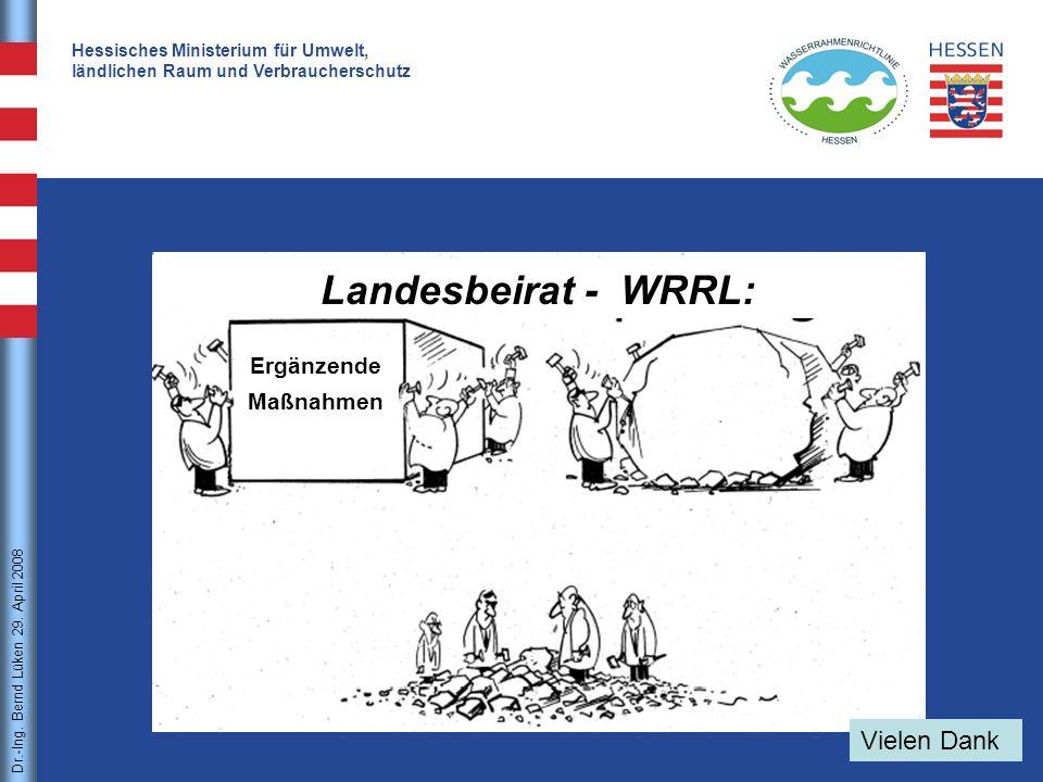 Dr.-Ing. Bernd Lüken21 Dr.-Ing. Bernd Lüken 29. April 2008 Hessisches Ministerium für Umwelt, ländlichen Raum und Verbraucherschutz Landesbeirat - WRR