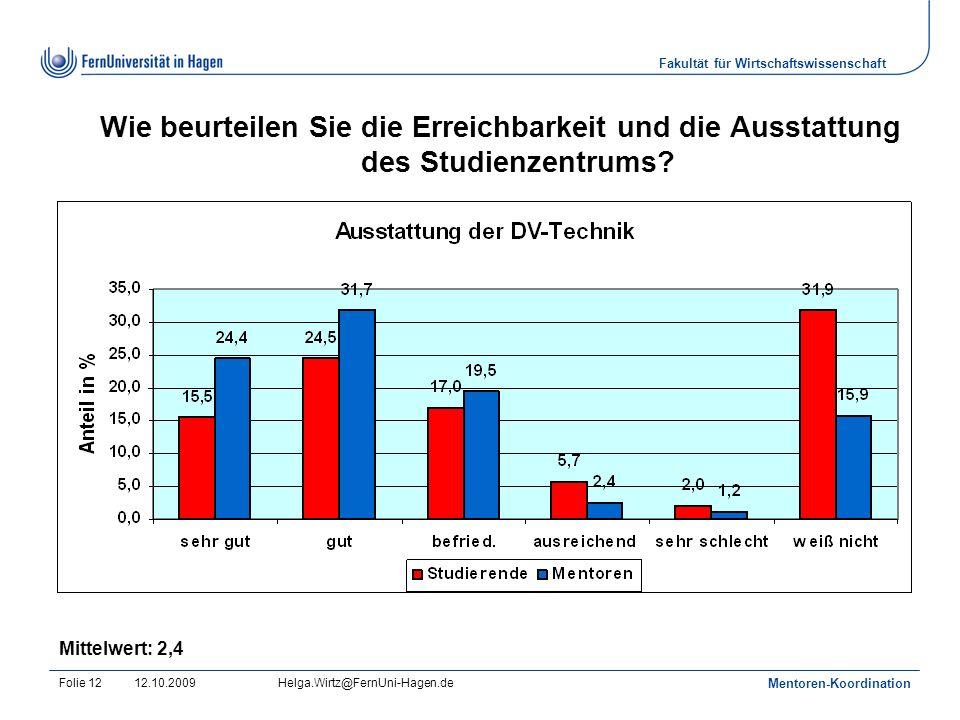 Fakultät für Wirtschaftswissenschaft 12.10.2009Helga.Wirtz@FernUni-Hagen.de Mentoren-Koordination Folie 12 Wie beurteilen Sie die Erreichbarkeit und die Ausstattung des Studienzentrums.
