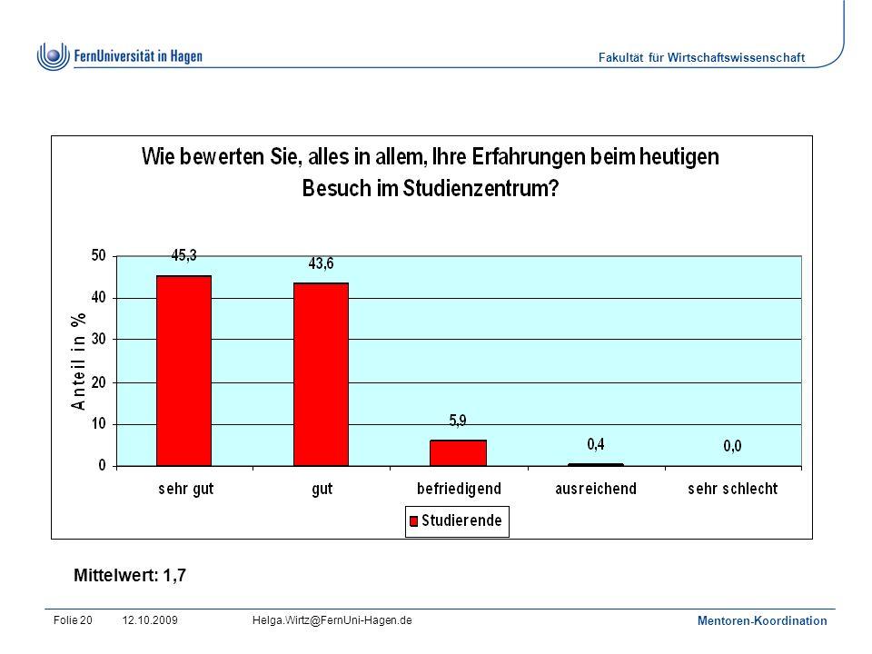 Fakultät für Wirtschaftswissenschaft 12.10.2009Helga.Wirtz@FernUni-Hagen.de Mentoren-Koordination Folie 20 Mittelwert: 1,7