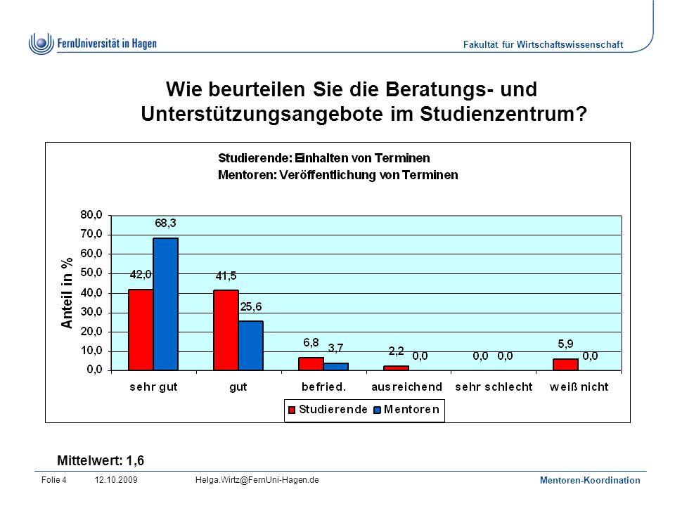 Fakultät für Wirtschaftswissenschaft 12.10.2009Helga.Wirtz@FernUni-Hagen.de Mentoren-Koordination Folie 4 Wie beurteilen Sie die Beratungs- und Unterstützungsangebote im Studienzentrum.