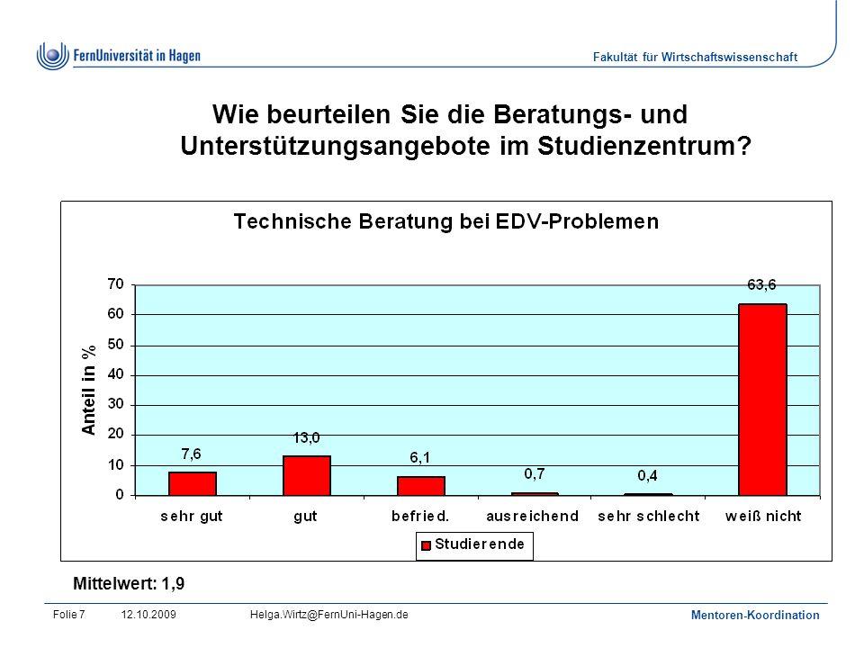 Fakultät für Wirtschaftswissenschaft 12.10.2009Helga.Wirtz@FernUni-Hagen.de Mentoren-Koordination Folie 7 Wie beurteilen Sie die Beratungs- und Unterstützungsangebote im Studienzentrum.