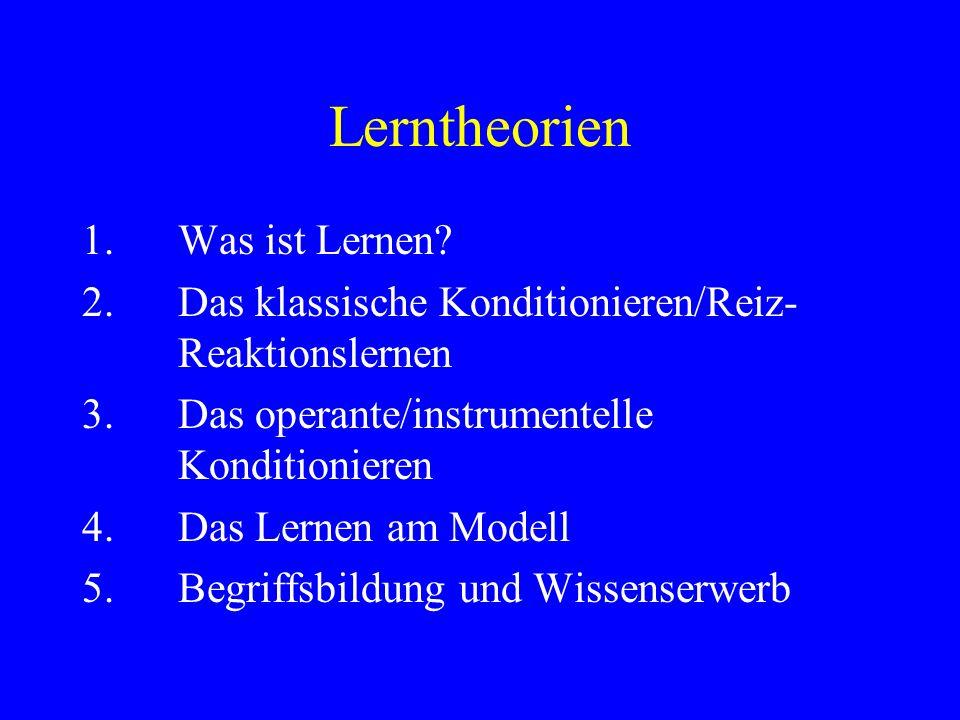 Lerntheorien 1.Was ist Lernen? 2.Das klassische Konditionieren/Reiz- Reaktionslernen 3.Das operante/instrumentelle Konditionieren 4.Das Lernen am Mode
