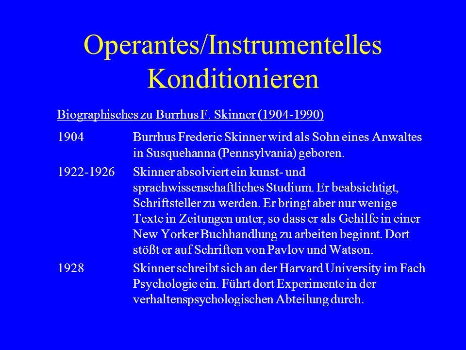 Operantes/Instrumentelles Konditionieren Biographisches zu Burrhus F. Skinner (1904-1990) 1904Burrhus Frederic Skinner wird als Sohn eines Anwaltes in