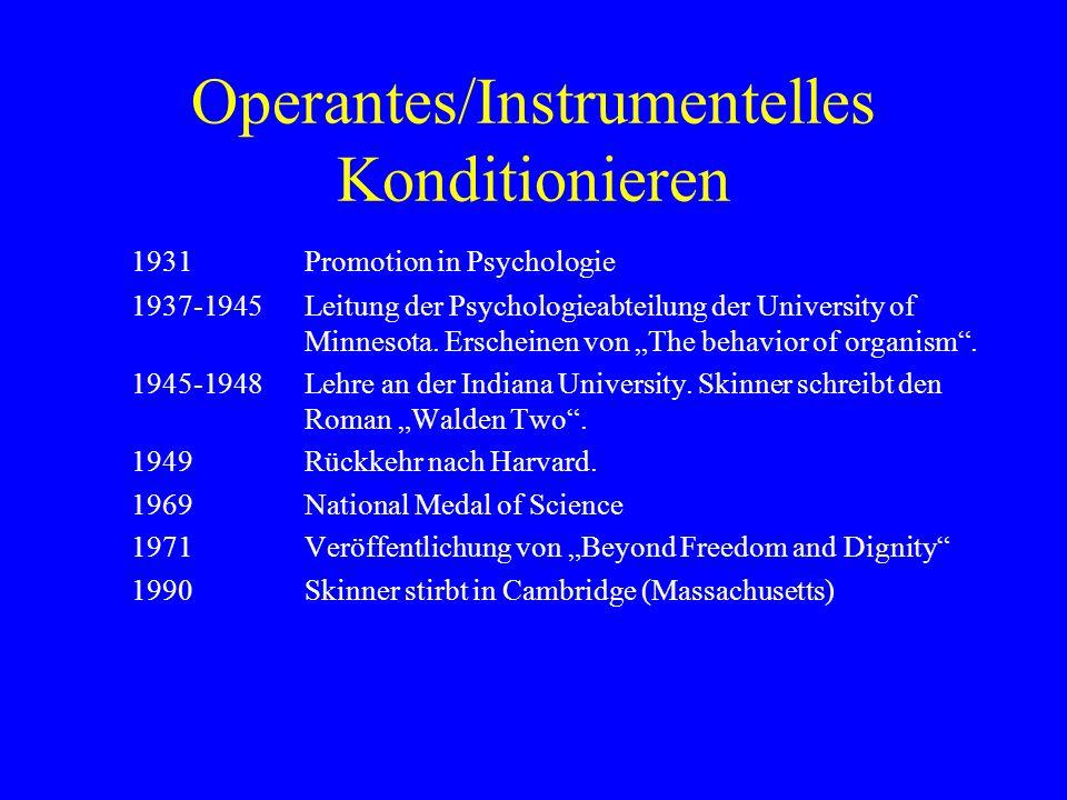 Operantes/Instrumentelles Konditionieren 1931Promotion in Psychologie 1937-1945Leitung der Psychologieabteilung der University of Minnesota. Erscheine