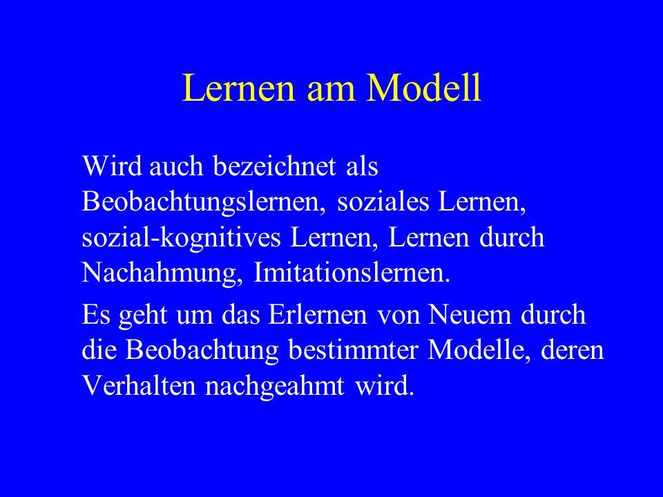 Lernen am Modell Wird auch bezeichnet als Beobachtungslernen, soziales Lernen, sozial-kognitives Lernen, Lernen durch Nachahmung, Imitationslernen. Es