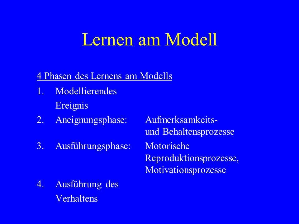 Lernen am Modell Faktoren, die dazu beitragen, dass ein Modell nachgeahmt wird: -es wird beobachtet, dass das Modell verstärkt wird, - das Modell wird als positiv wahrgenommen, - Wahrnehmung von Ähnlichkeiten zwischen Modell und Beobachter, - Aufmerksamkeit des Beobachters wird verstärkt, - das Verhalten des Modells ist auffällig und sichtbar, - es liegt im Bereich der Kompetenz des Beobachters, das Verhalten zu imitieren.
