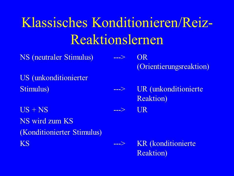 Klassisches Konditionieren/Reiz- Reaktionslernen NS (neutraler Stimulus)--->OR (Orientierungsreaktion) US (unkonditionierter Stimulus) --->UR (unkondi