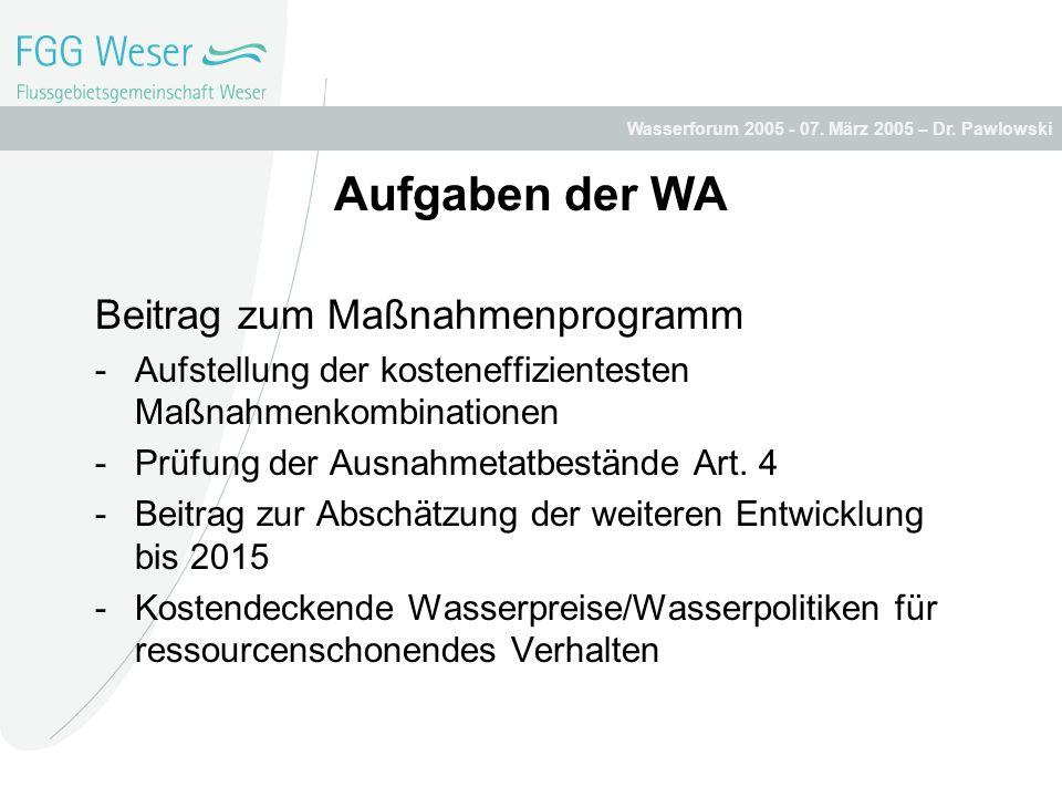 Wasserforum 2005 - 07. März 2005 – Dr. Pawlowski Aufgaben der WA Beitrag zum Maßnahmenprogramm -Aufstellung der kosteneffizientesten Maßnahmenkombinat