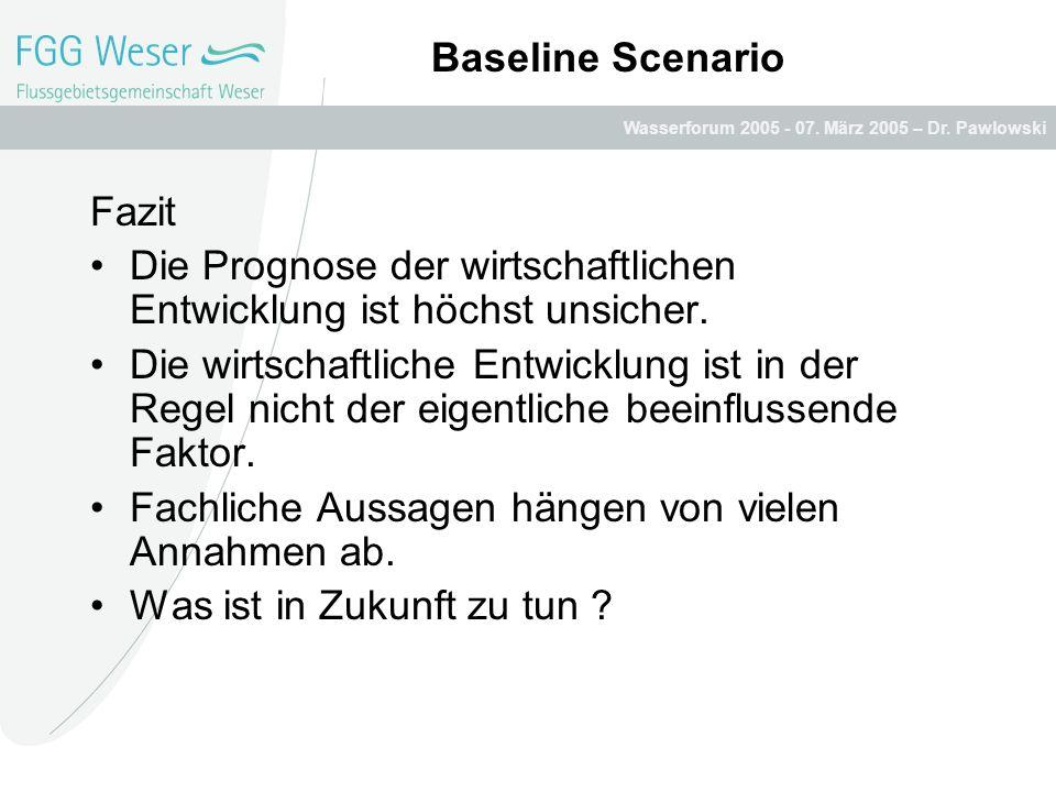Wasserforum 2005 - 07. März 2005 – Dr. Pawlowski Baseline Scenario Fazit Die Prognose der wirtschaftlichen Entwicklung ist höchst unsicher. Die wirtsc