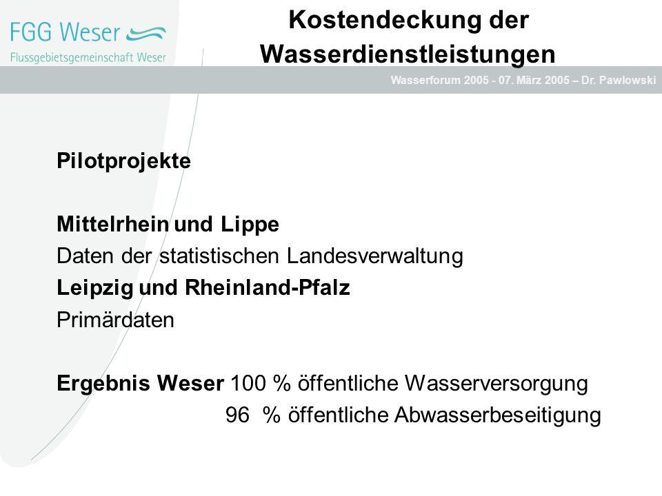 Wasserforum 2005 - 07. März 2005 – Dr. Pawlowski Kostendeckung der Wasserdienstleistungen Pilotprojekte Mittelrhein und Lippe Daten der statistischen