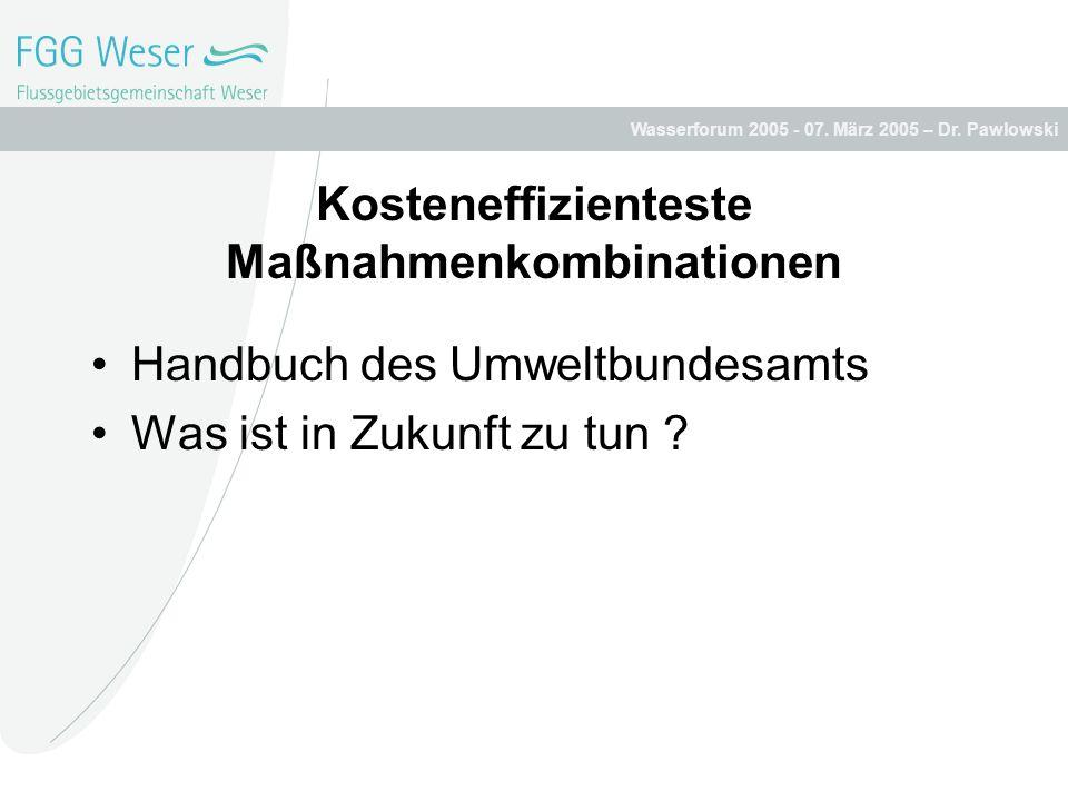 Wasserforum 2005 - 07. März 2005 – Dr. Pawlowski Kosteneffizienteste Maßnahmenkombinationen Handbuch des Umweltbundesamts Was ist in Zukunft zu tun ?