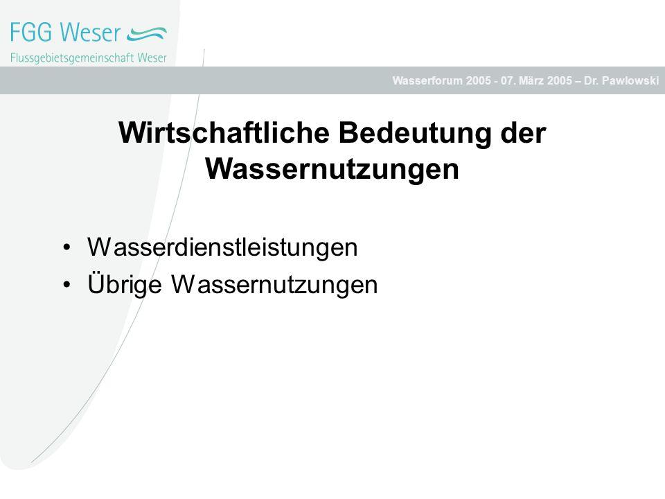 Wasserforum 2005 - 07. März 2005 – Dr. Pawlowski Wirtschaftliche Bedeutung der Wassernutzungen Wasserdienstleistungen Übrige Wassernutzungen