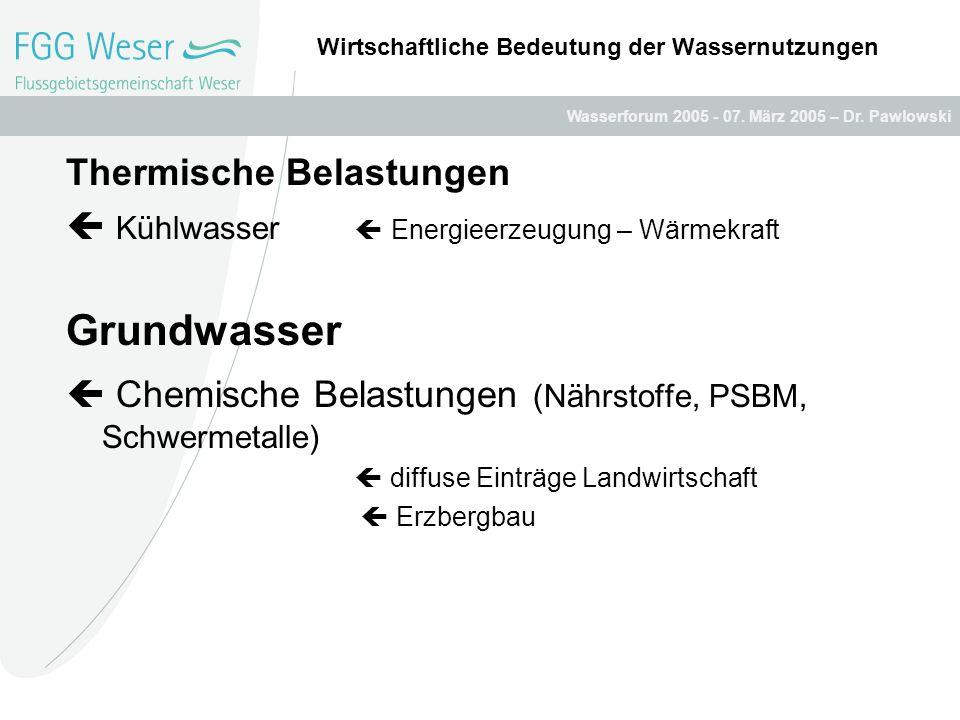 Wasserforum 2005 - 07. März 2005 – Dr. Pawlowski Wirtschaftliche Bedeutung der Wassernutzungen Thermische Belastungen Kühlwasser Energieerzeugung – Wä