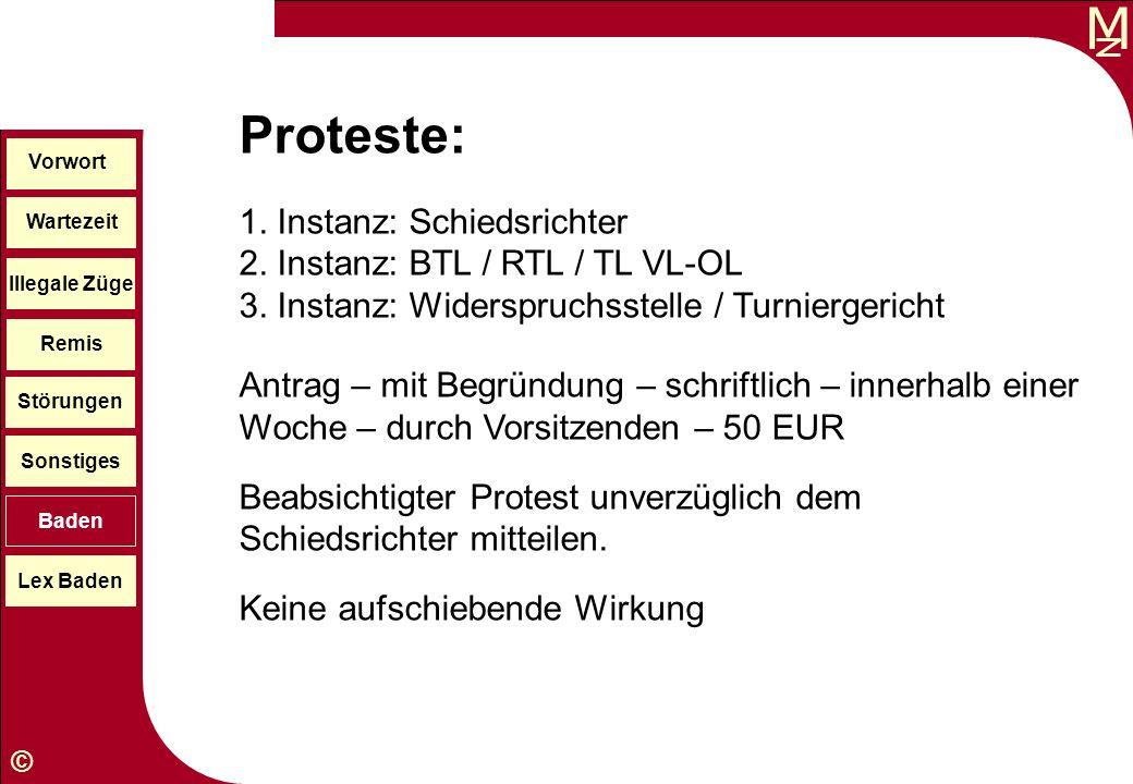 M © Wartezeit Illegale Züge Störungen Sonstiges Baden Lex Baden Vorwort Remis Proteste: 1. Instanz: Schiedsrichter 2. Instanz: BTL / RTL / TL VL-OL 3.