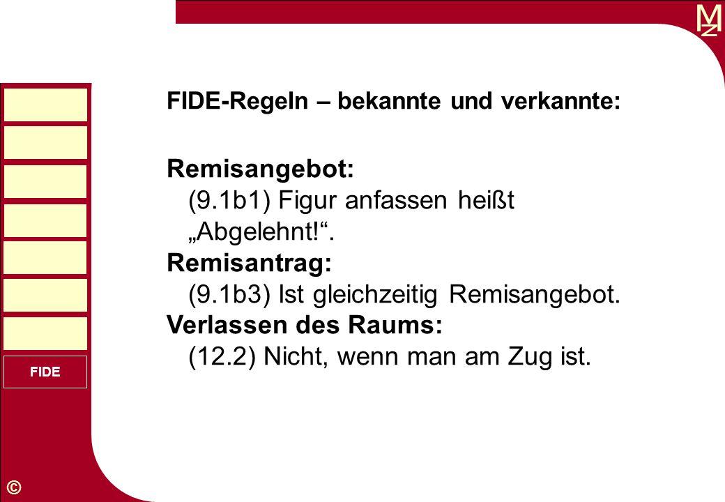 M © FIDE FIDE-Regeln – bekannte und verkannte: Remisangebot: (9.1b1) Figur anfassen heißt Abgelehnt!. Remisantrag: (9.1b3) Ist gleichzeitig Remisangeb