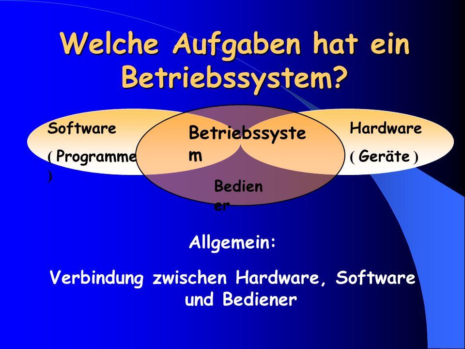 Welche Aufgaben hat ein Betriebssystem.