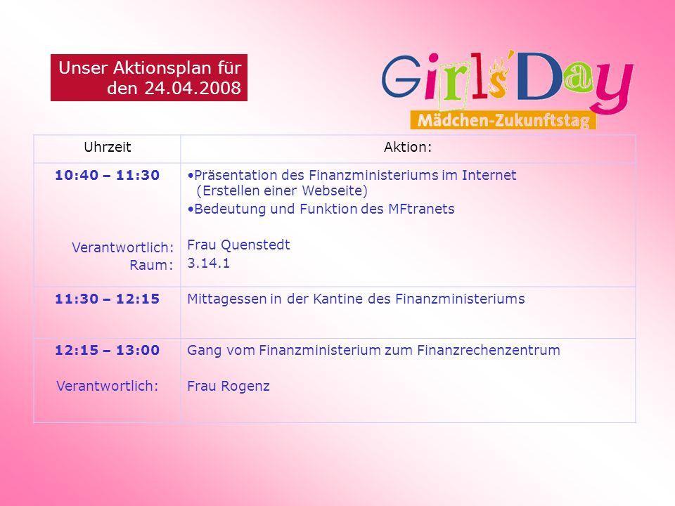Unser Aktionsplan für den 24.04.2008 UhrzeitAktion: 10:40 – 11:30 Verantwortlich: Raum: Präsentation des Finanzministeriums im Internet (Erstellen ein