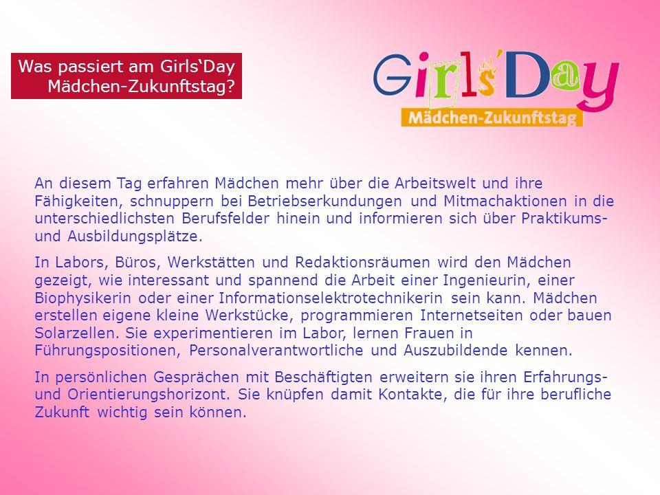 Was passiert am GirlsDay Mädchen-Zukunftstag? An diesem Tag erfahren Mädchen mehr über die Arbeitswelt und ihre Fähigkeiten, schnuppern bei Betriebser