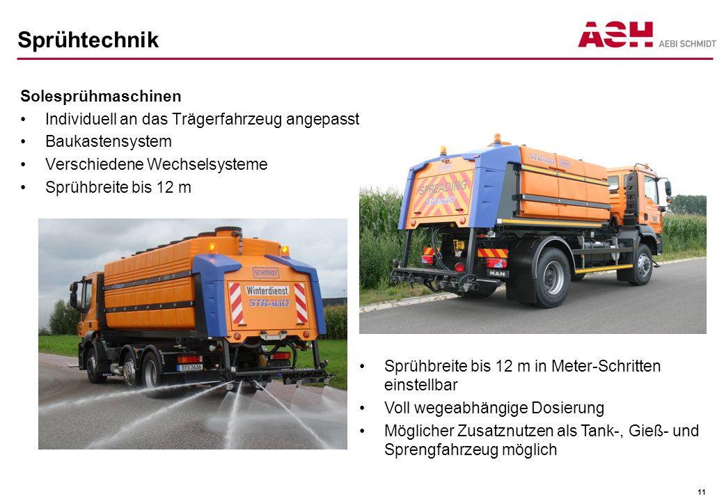 Sprühtechnik Solesprühmaschinen Individuell an das Trägerfahrzeug angepasst Baukastensystem Verschiedene Wechselsysteme Sprühbreite bis 12 m 11 Sprühb