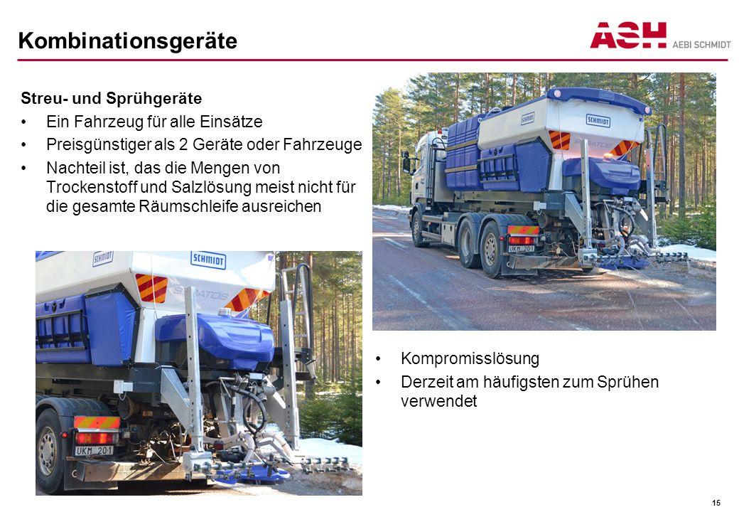 Kombinationsgeräte Streu- und Sprühgeräte Ein Fahrzeug für alle Einsätze Preisgünstiger als 2 Geräte oder Fahrzeuge Nachteil ist, das die Mengen von T