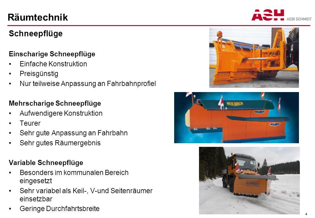 Räumtechnik Schneepflüge Einscharige Schneepflüge Einfache Konstruktion Preisgünstig Nur teilweise Anpassung an Fahrbahnprofiel Mehrscharige Schneepfl