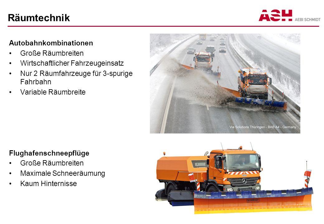 Räumtechnik Autobahnkombinationen Große Räumbreiten Wirtschaftlicher Fahrzeugeinsatz Nur 2 Räumfahrzeuge für 3-spurige Fahrbahn Variable Räumbreite Fl