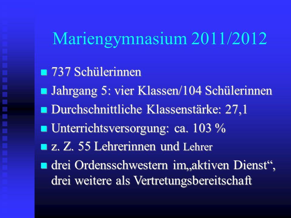 Mariengymnasium 2011/2012 737 Schülerinnen 737 Schülerinnen Jahrgang 5: vier Klassen/104 Schülerinnen Jahrgang 5: vier Klassen/104 Schülerinnen Durchs