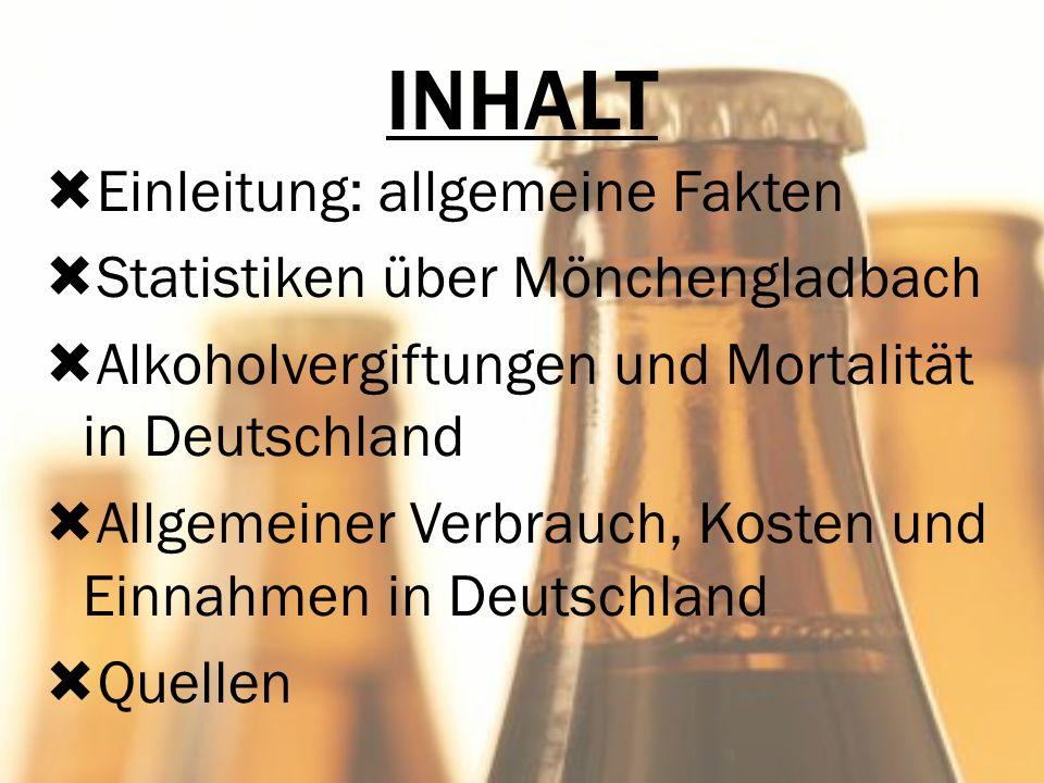 INHALT Einleitung: allgemeine Fakten Statistiken über Mönchengladbach Alkoholvergiftungen und Mortalität in Deutschland Allgemeiner Verbrauch, Kosten