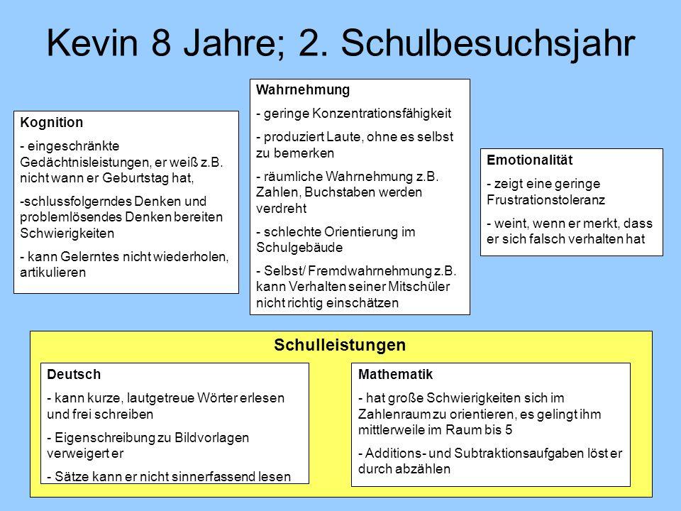 Kevin 8 Jahre; 2. Schulbesuchsjahr Schulleistungen Deutsch - kann kurze, lautgetreue Wörter erlesen und frei schreiben - Eigenschreibung zu Bildvorlag