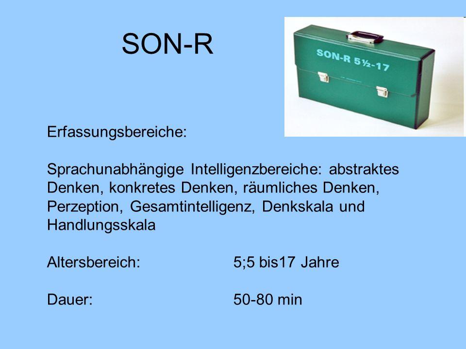 SON-R Erfassungsbereiche: Sprachunabhängige Intelligenzbereiche: abstraktes Denken, konkretes Denken, räumliches Denken, Perzeption, Gesamtintelligenz