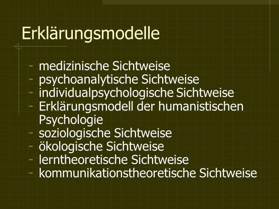 Erklärungsmodelle - medizinische Sichtweise - psychoanalytische Sichtweise - individualpsychologische Sichtweise - Erklärungsmodell der humanistischen Psychologie - soziologische Sichtweise - ökologische Sichtweise - lerntheoretische Sichtweise - kommunikationstheoretische Sichtweise