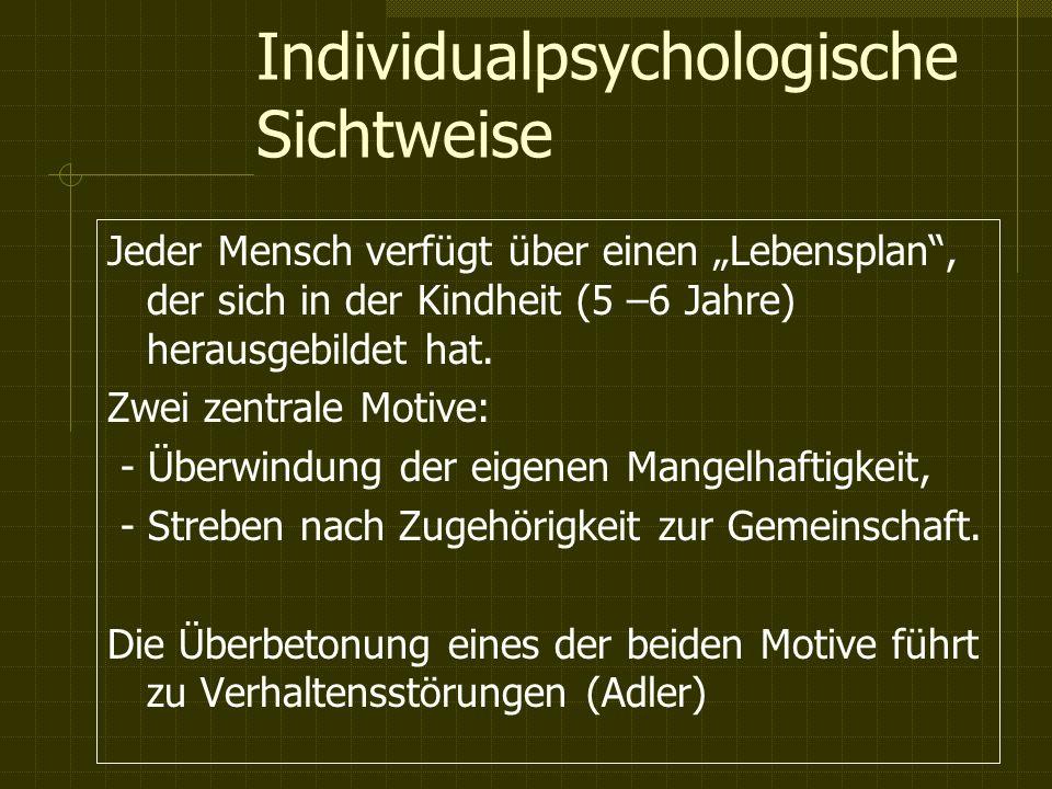 Individualpsychologische Sichtweise Jeder Mensch verfügt über einen Lebensplan, der sich in der Kindheit (5 –6 Jahre) herausgebildet hat.