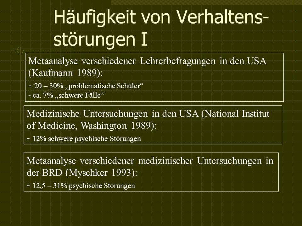 Häufigkeit von Verhaltens- störungen I Metaanalyse verschiedener Lehrerbefragungen in den USA (Kaufmann 1989): - 20 – 30% problematische Schüler - ca.