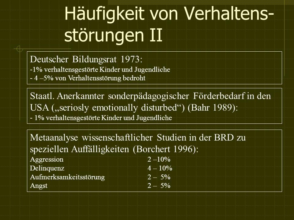 Häufigkeit von Verhaltens- störungen II Deutscher Bildungsrat 1973: -1% verhaltensgestörte Kinder und Jugendliche - 4 –5% von Verhaltensstörung bedroht Staatl.