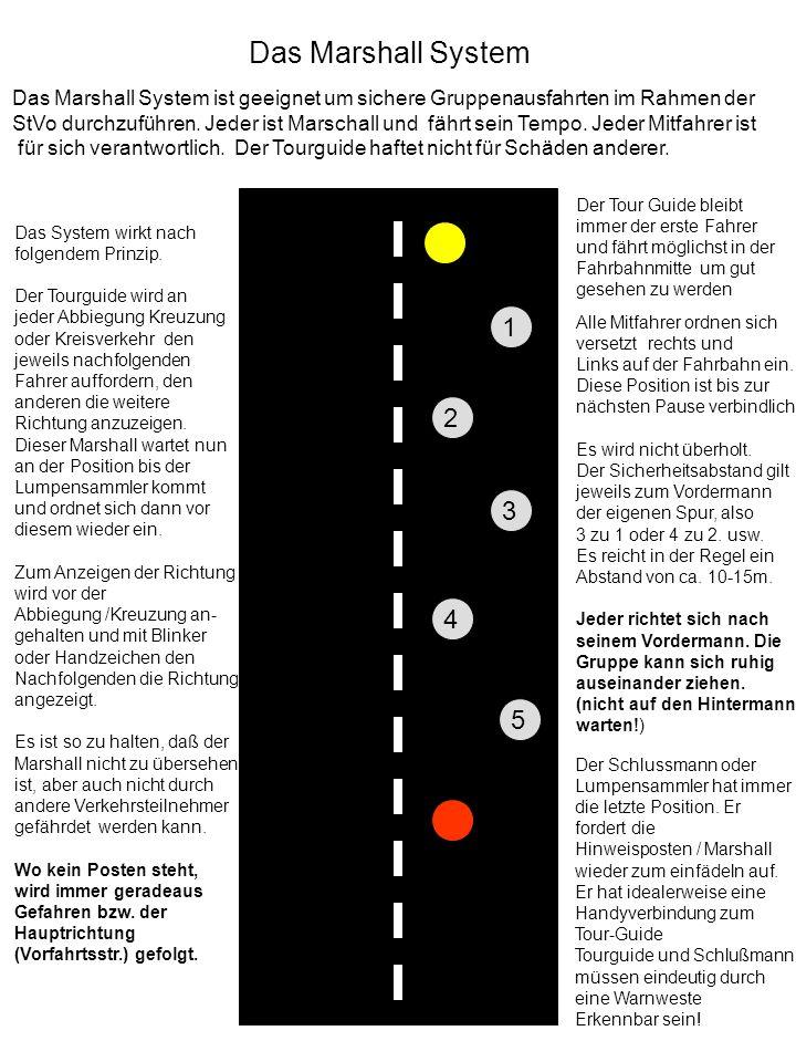 Der Tour Guide bleibt immer der erste Fahrer und fährt möglichst in der Fahrbahnmitte um gut gesehen zu werden 1 2 3 4 5 Alle Mitfahrer ordnen sich versetzt rechts und Links auf der Fahrbahn ein.