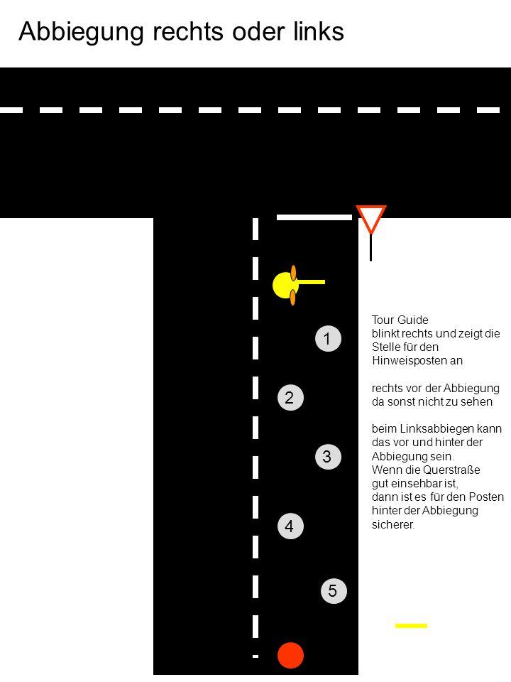 Tour Guide blinkt rechts und zeigt die Stelle für den Hinweisposten an rechts vor der Abbiegung da sonst nicht zu sehen beim Linksabbiegen kann das vor und hinter der Abbiegung sein.
