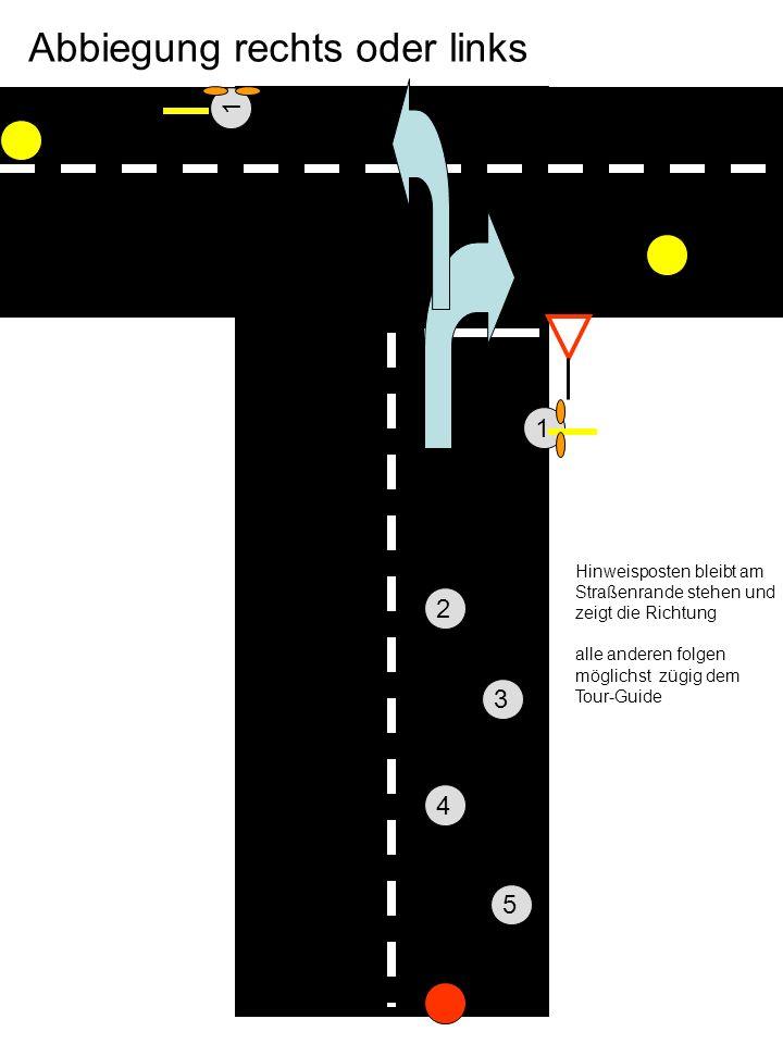 Hinweisposten -1- bleibt am Straßenrande stehen und zeigt die Richtung alle anderen folgen möglichst zügig dem Tourguide 2 3 4 5 Abbiegung rechts oder links 1 1 Nicht im Kreisverkehr stehen Bleiben, Oft ist es zu eng.