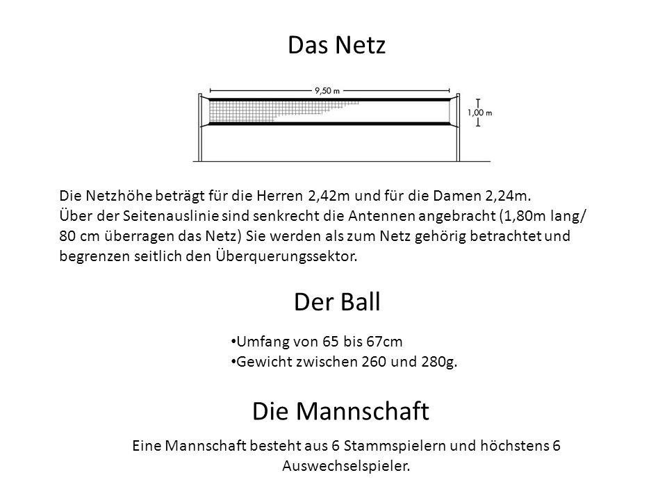Das Netz Die Netzhöhe beträgt für die Herren 2,42m und für die Damen 2,24m. Über der Seitenauslinie sind senkrecht die Antennen angebracht (1,80m lang