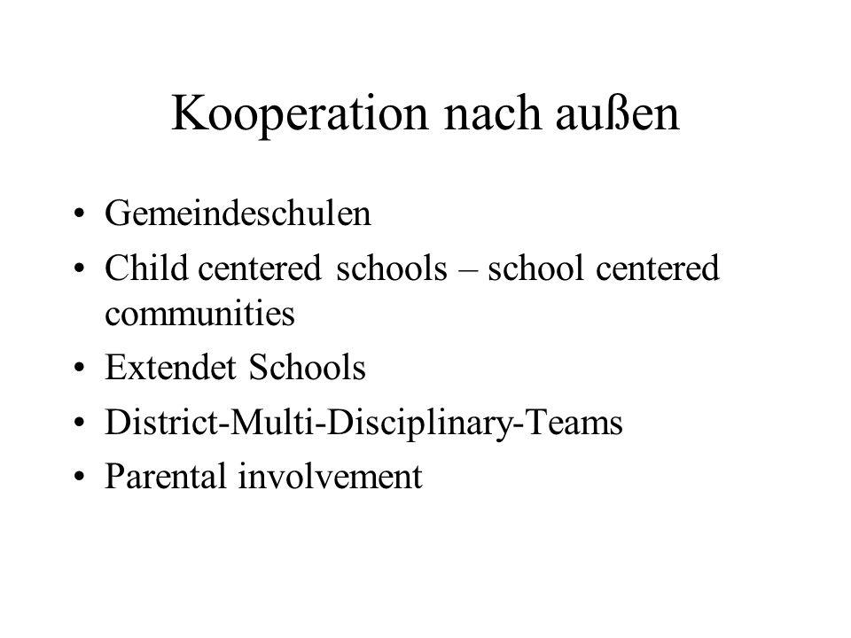 Kooperation nach außen Gemeindeschulen Child centered schools – school centered communities Extendet Schools District-Multi-Disciplinary-Teams Parenta