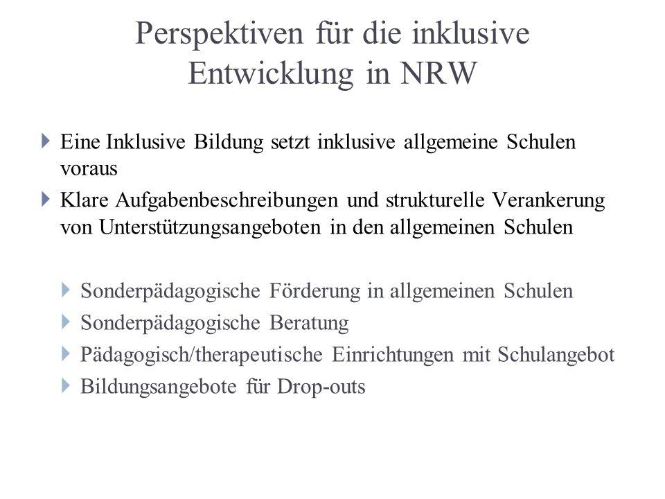 Perspektiven für die inklusive Entwicklung in NRW Eine Inklusive Bildung setzt inklusive allgemeine Schulen voraus Klare Aufgabenbeschreibungen und st