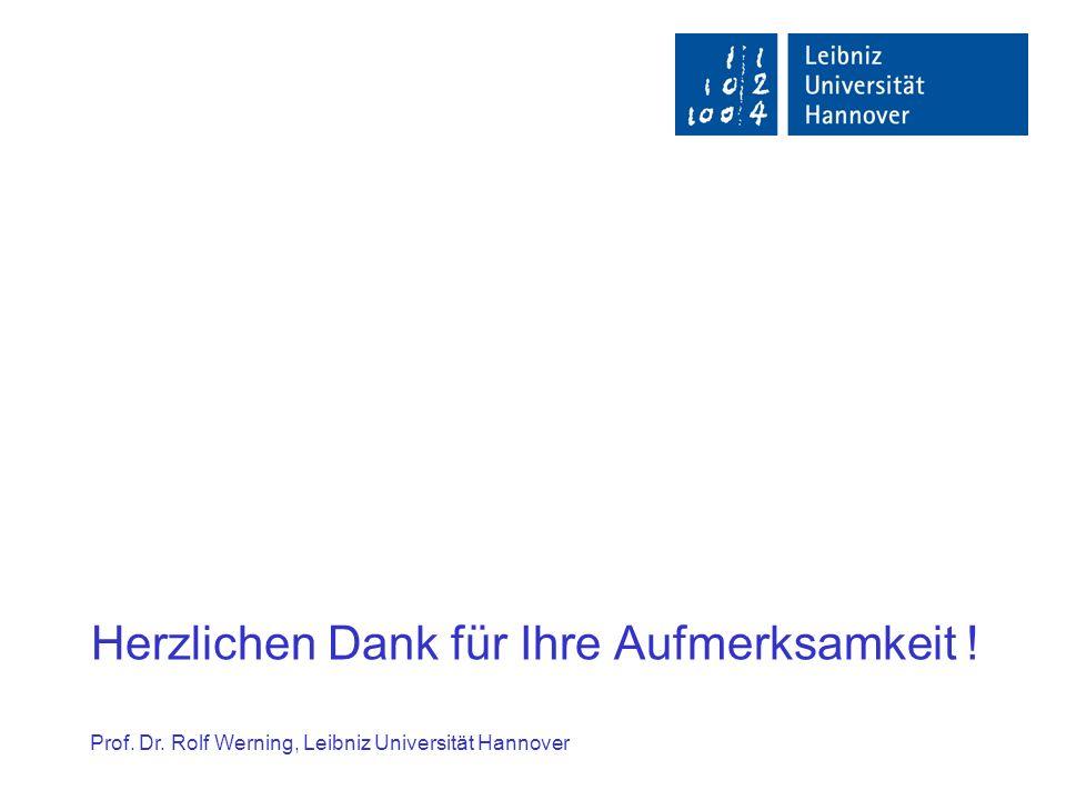 Herzlichen Dank für Ihre Aufmerksamkeit ! Prof. Dr. Rolf Werning, Leibniz Universität Hannover