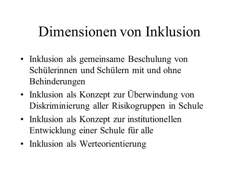 Dimensionen von Inklusion Inklusion als gemeinsame Beschulung von Schülerinnen und Schülern mit und ohne Behinderungen Inklusion als Konzept zur Überw